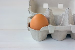 One brown egg in a carton