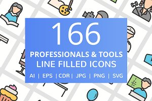 166 Professionals Filled Line Icons