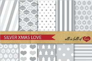 -20% Silver Grey Christmas patterns