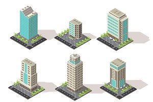 Isometric Office Buildings Set
