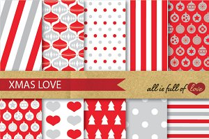 Retro Digital Scrapbook XMAS Paper