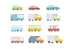 Set of different cartoon transparent cars buses and trucks. Flat vector stock illustration.