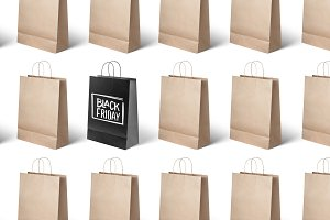 on white background paper bags, black Friday