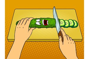 Cartoon cucumber pop art vector illustration