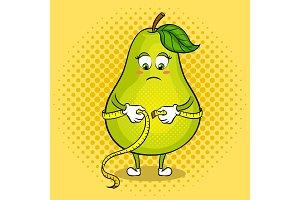Pear measuring waist pop art vector illustration