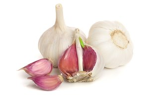 garlic isolated on white background close up