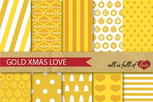 Golden Xmas Yellow Backgrounds