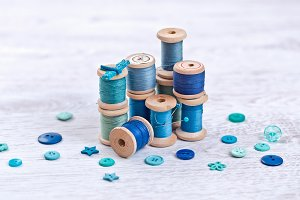 threads in blue, aqua colors