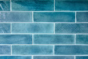 Blue background with ceramic tiles