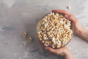 popcorn in hands