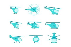 Nice set of helicopters for your design transport fly collection aviation. Flat vector stock illustration. Blue color.