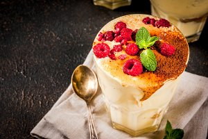 Tiramisu with mint and raspberries
