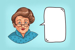 Stylish grandmother, speech bubble