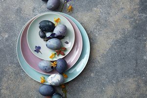 Blue easter eggs with dried flowers