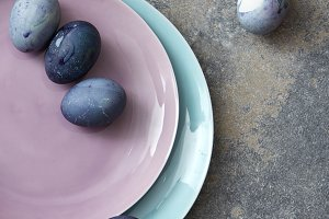 pink and blue plate with Easter eggs