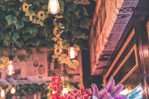 Vintage interior of the store with beautiful warm light. Bali island.