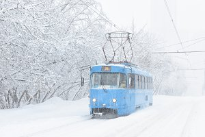 Icy tram in snowy Moscow