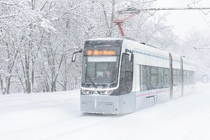 Icy tram in Moscow