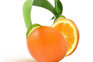 headphones of orange, lime and leaves