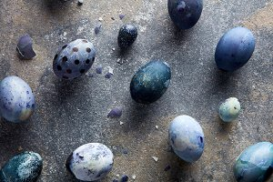 eggshells and blue eggs