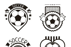 Set of soccer labels.