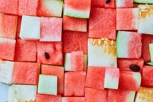 background of watermelon cubes