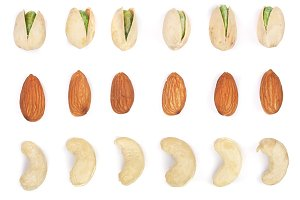 Mix nuts almonds, cashews pistachios isolated on white background. Top view. Flat lay
