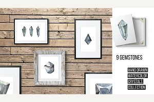 Watercolor Crystals and Gemstone Set