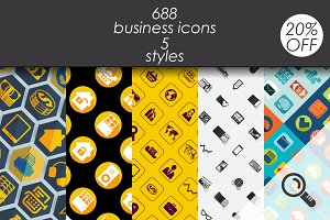 688 business icons. 5 styles