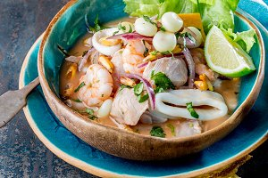 PERUVIAN CEVICHE SEBICHE. Peruvian seafood and fish sebiche with maize