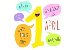 Cute 1 april Fools Day cartoon charachter of smiling number one with speech bubbles