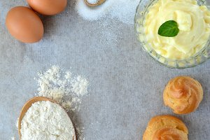 Ingredients for preparation of choux pastry and custard
