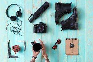 set,collage of men's, women's accessories.