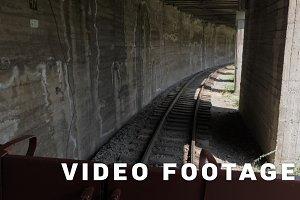 Retro train moves in the tunnel - Bakuriani, Georgia