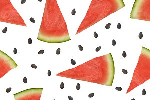 Watermelon pieces and seeds
