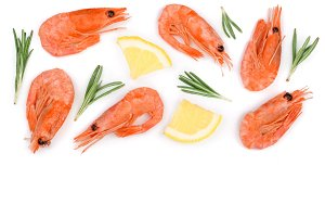 Red prawn or shrimp with rosemary and lemon isolated on white background with copy space for your text. Top view