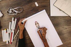 Top view of fashion designer sketch