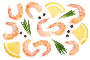Red cooked prawn or shrimp with rosemary, lemon and peppercorn isolated on white background. Top view. Flat lay