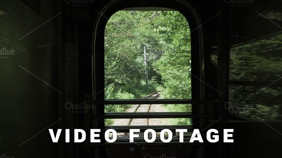 View Through The Window Of Last Wagon In Retro Train Georgia