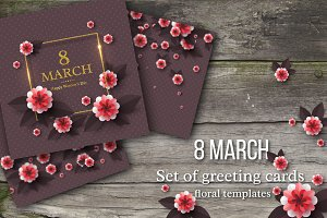 Set of 8 March greeting cards.