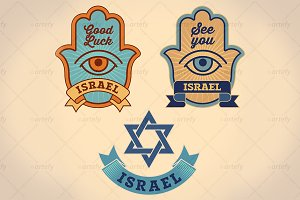 Israel good luck symbols (3x)