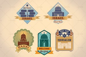 Retro-styled Israel tour labels (5x)
