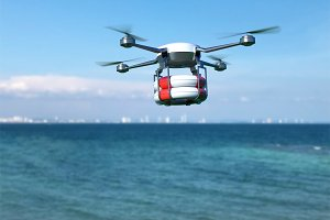 Rescue drone with lifebuoy flying