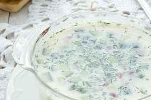 Cold soup Okroshka on white background