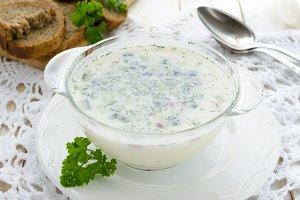 Cold soup Okroshka on white background