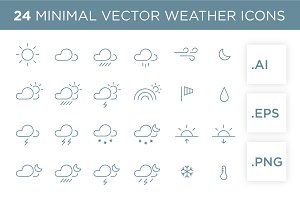 24 minimal vector weather icons set