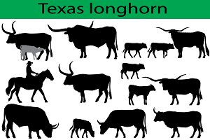 Texas longhorn cattle silhouettes