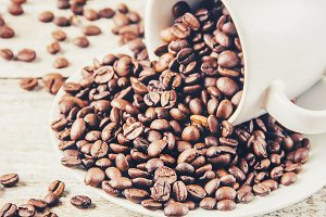 Coffee beans. Selective focus.