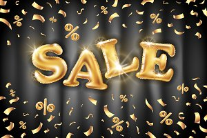 vector Gold sale balloons background