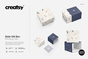 Slide Gift Box Mockup Set